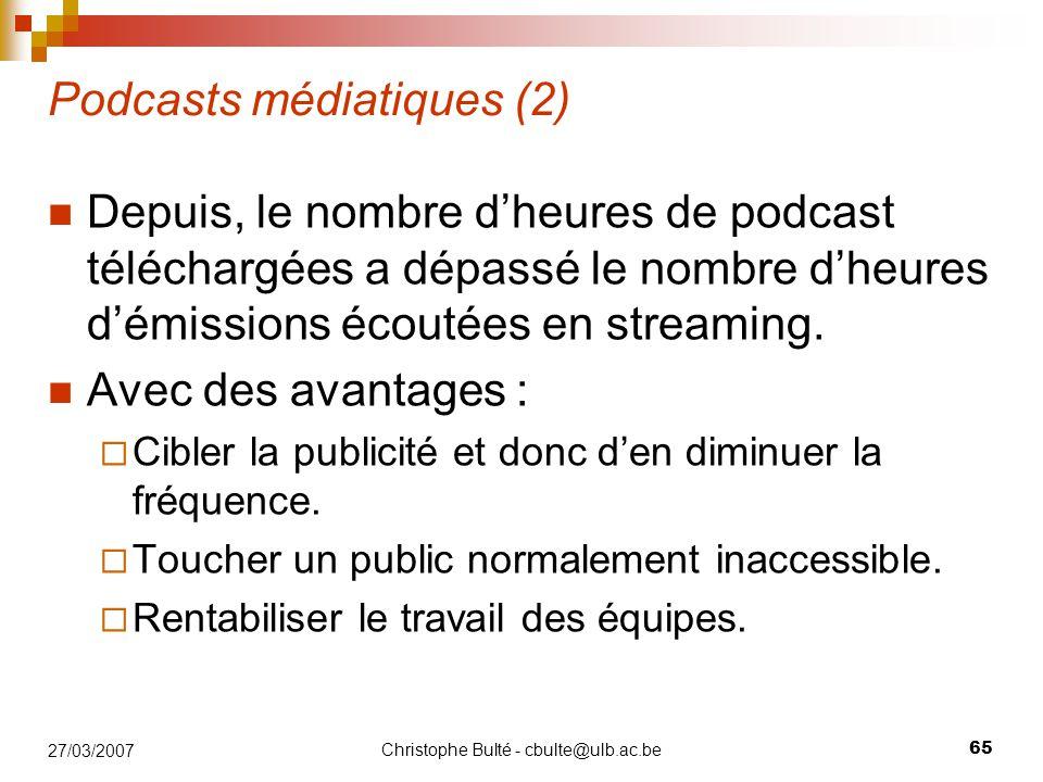 Christophe Bulté - cbulte@ulb.ac.be 65 27/03/2007 Podcasts médiatiques (2) Depuis, le nombre d'heures de podcast téléchargées a dépassé le nombre d'he