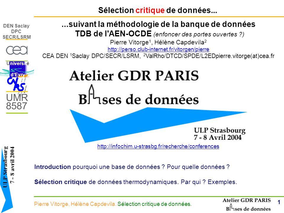 1 DEN Saclay DPC SECR/LSRM Pierre Vitorge, Hélène Capdevila.