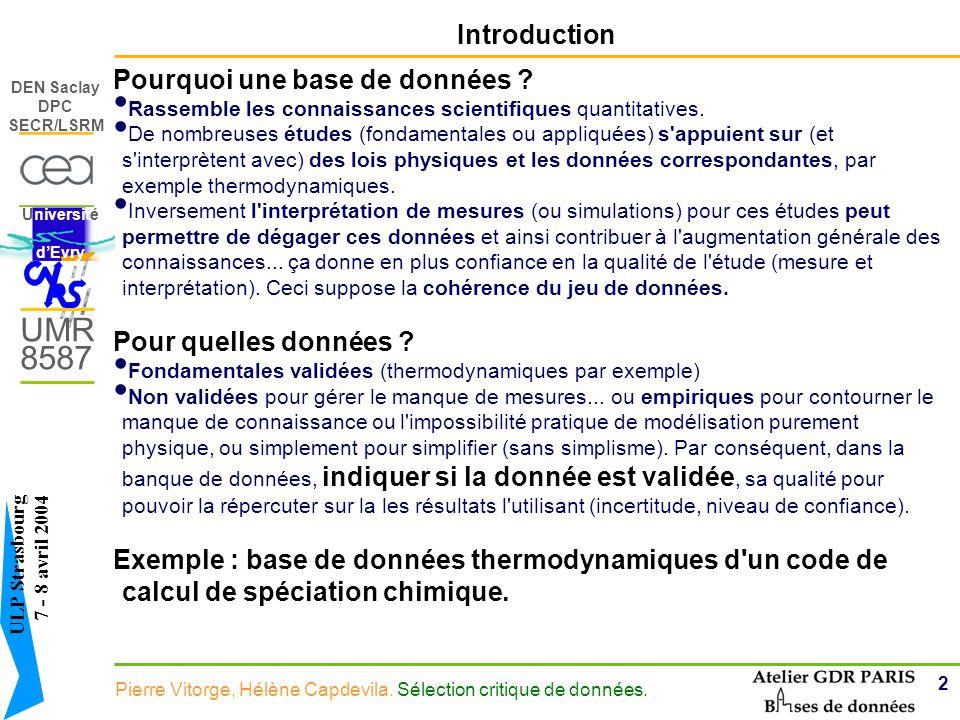 3 DEN Saclay DPC SECR/LSRM Pierre Vitorge, Hélène Capdevila.