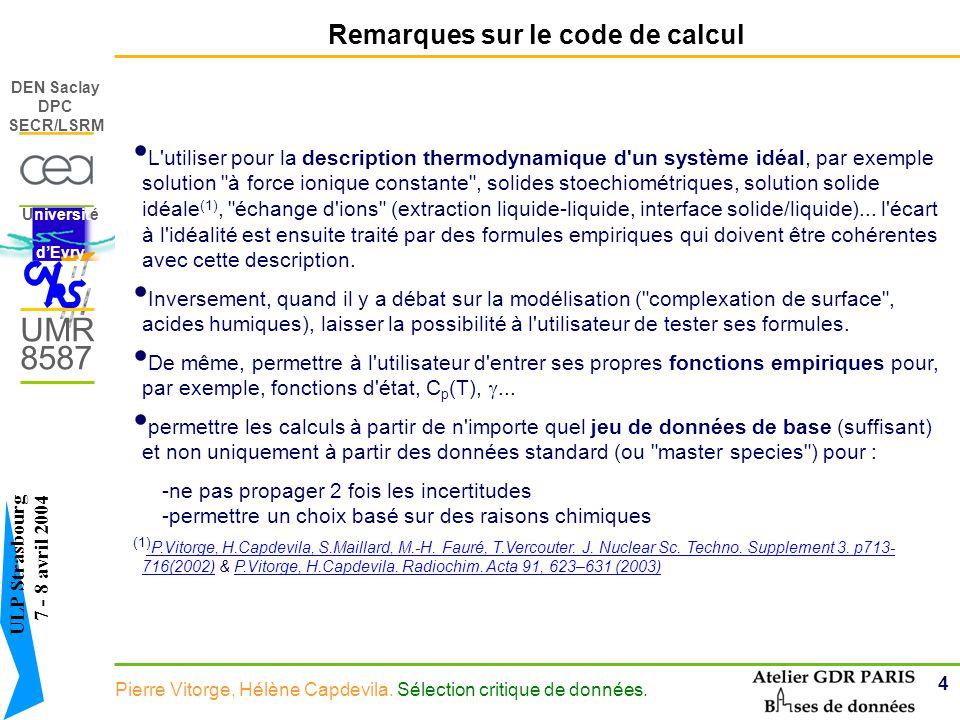 4 DEN Saclay DPC SECR/LSRM Pierre Vitorge, Hélène Capdevila.