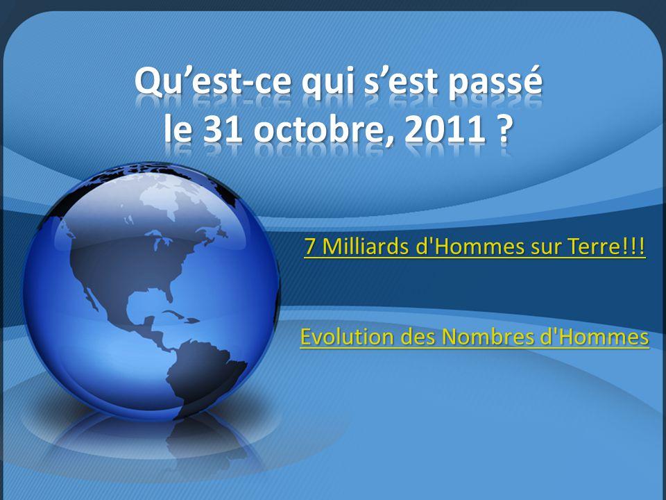 7 Milliards d'Hommes sur Terre!!! 7 Milliards d'Hommes sur Terre!!! Evolution des Nombres d'Hommes Evolution des Nombres d'Hommes