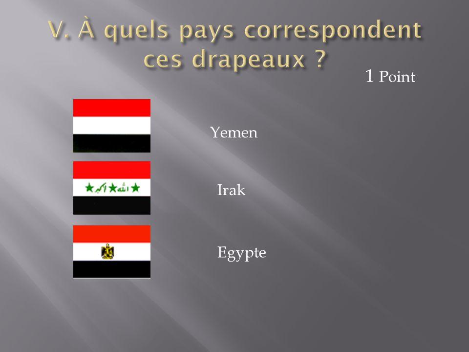 Yemen Irak Egypte 1 Point