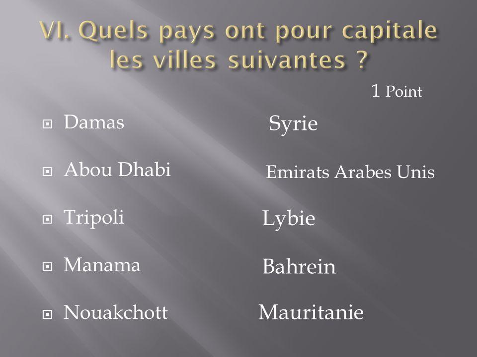  Damas  Abou Dhabi  Tripoli  Manama  Nouakchott Syrie Emirats Arabes Unis Lybie Bahrein Mauritanie 1 Point