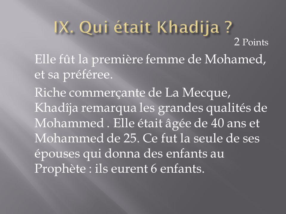 Elle fût la première femme de Mohamed, et sa préféree. Riche commerçante de La Mecque, Khadîja remarqua les grandes qualités de Mohammed. Elle était â