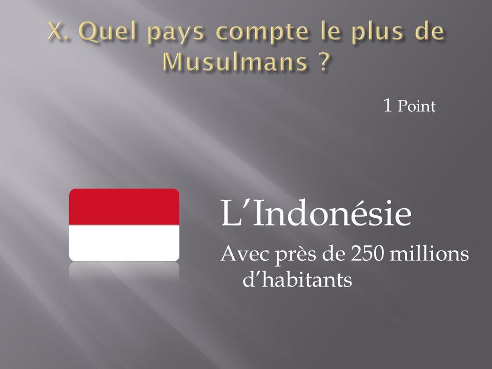 L'Indonésie Avec près de 250 millions d'habitants 1 Point