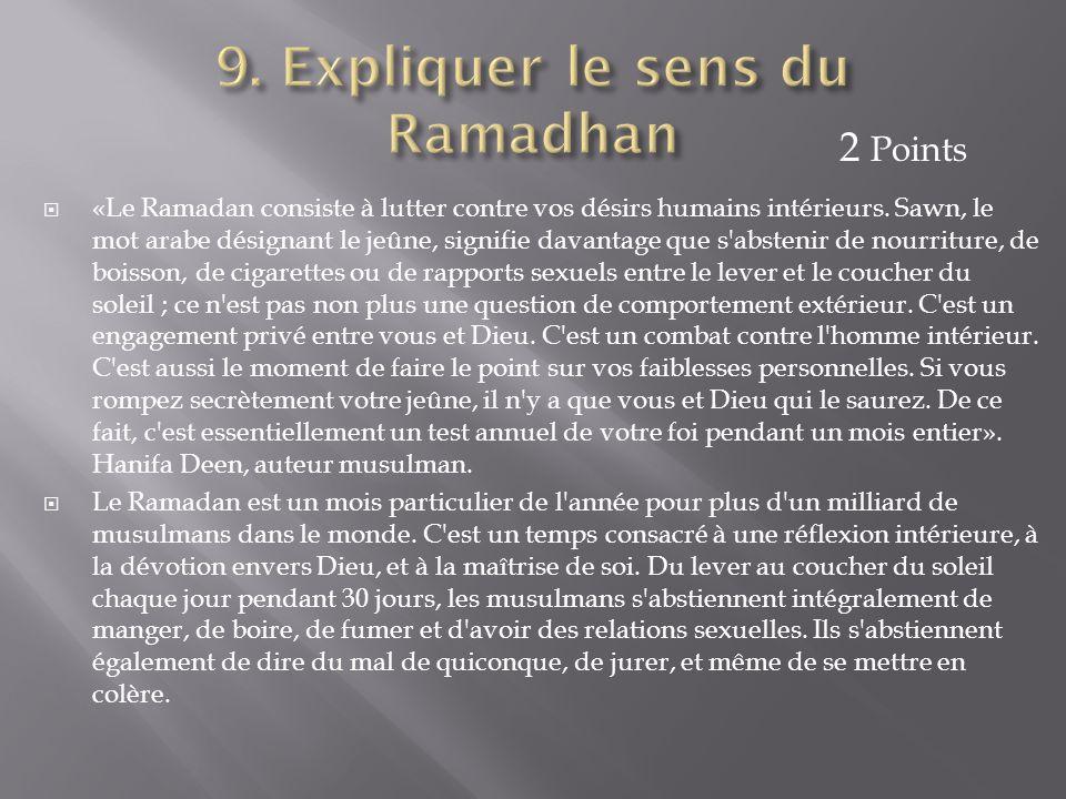  «Le Ramadan consiste à lutter contre vos désirs humains intérieurs. Sawn, le mot arabe désignant le jeûne, signifie davantage que s'abstenir de nour