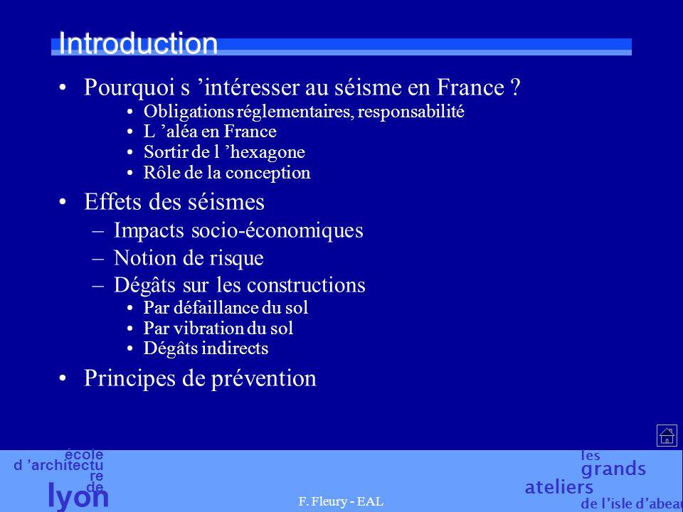 école d 'architectu re de l yon les grands ateliers de l'isle d'abeau F. Fleury - EAL Introduction Pourquoi s 'intéresser au séisme en France ? Obliga