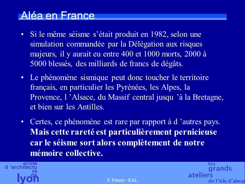école d 'architectu re de l yon les grands ateliers de l'isle d'abeau F. Fleury - EAL Aléa en France Si le même séisme s'était produit en 1982, selon