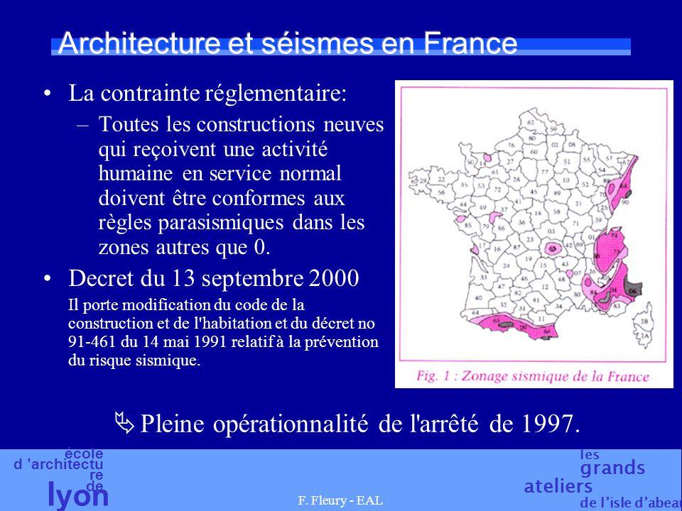 école d 'architectu re de l yon les grands ateliers de l'isle d'abeau F. Fleury - EAL Architecture et séismes en France La contrainte réglementaire: –