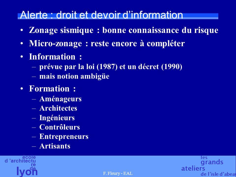 école d 'architectu re de l yon les grands ateliers de l'isle d'abeau F. Fleury - EAL Alerte : droit et devoir d'information Zonage sismique : bonne c