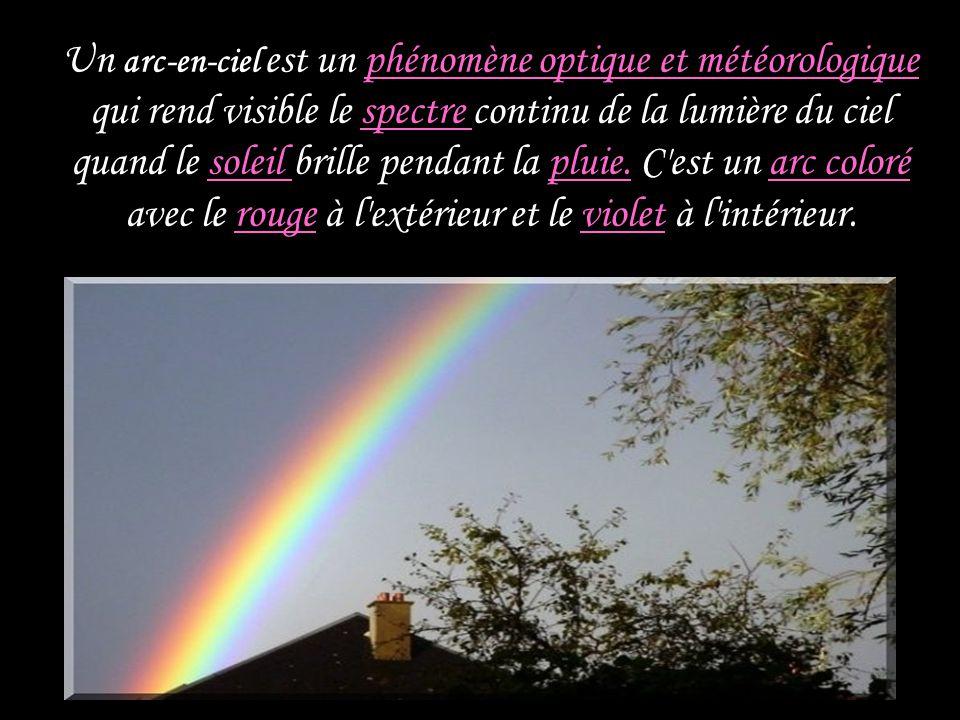 Un arc-en-ciel est un phénomène optique et météorologique qui rend visible le spectre continu de la lumière du ciel quand le soleil brille pendant la pluie.