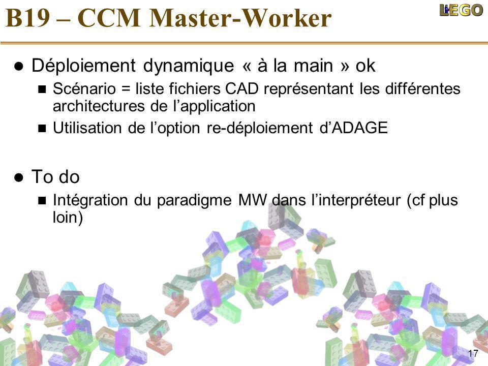 17 B19 – CCM Master-Worker Déploiement dynamique « à la main » ok Scénario = liste fichiers CAD représentant les différentes architectures de l'application Utilisation de l'option re-déploiement d'ADAGE To do Intégration du paradigme MW dans l'interpréteur (cf plus loin)