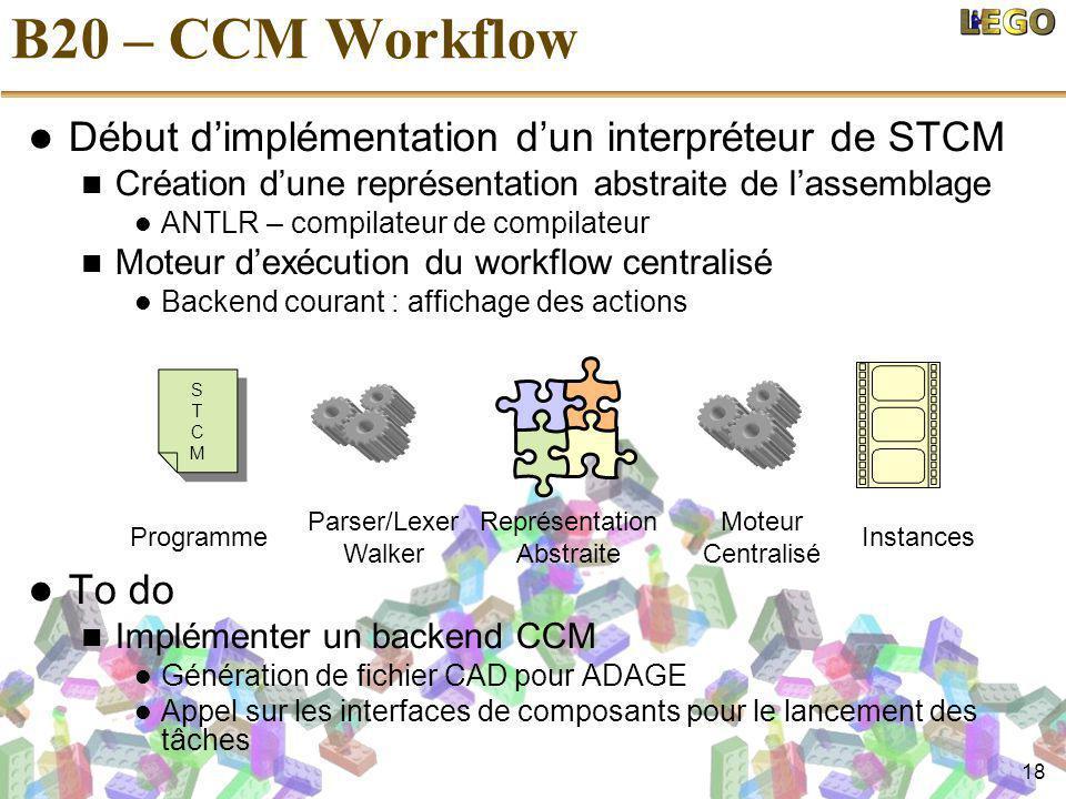 18 B20 – CCM Workflow Début d'implémentation d'un interpréteur de STCM Création d'une représentation abstraite de l'assemblage ANTLR – compilateur de compilateur Moteur d'exécution du workflow centralisé Backend courant : affichage des actions To do Implémenter un backend CCM Génération de fichier CAD pour ADAGE Appel sur les interfaces de composants pour le lancement des tâches STCMSTCM STCMSTCM Parser/Lexer Walker Représentation Abstraite Moteur Centralisé InstancesProgramme