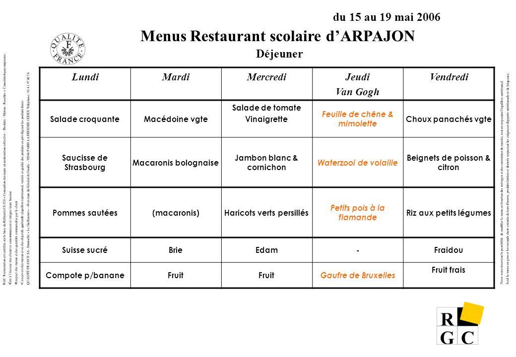 RGC Restauration est certifiée sur la base du Référentiel S-320 « Conception des repas en restauration collective – Produits – Menus - Recettes ».