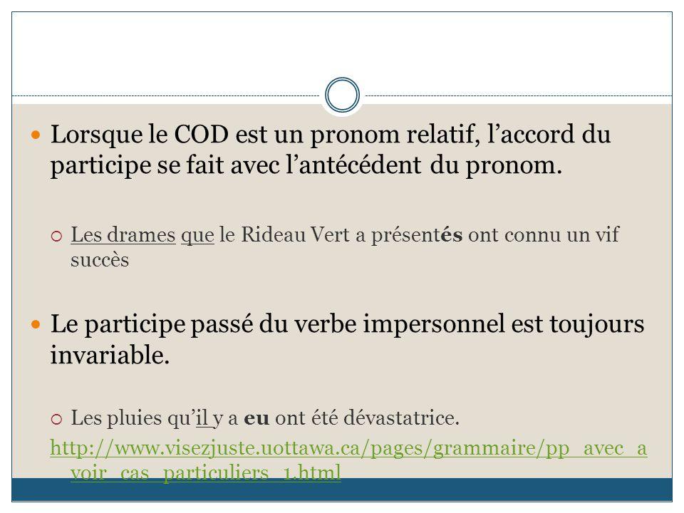 Lorsque le COD est un pronom relatif, l'accord du participe se fait avec l'antécédent du pronom.  Les drames que le Rideau Vert a présentés ont connu