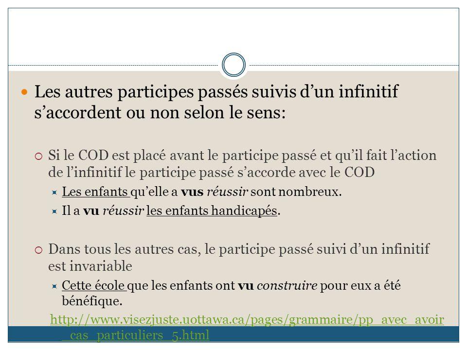 Les autres participes passés suivis d'un infinitif s'accordent ou non selon le sens:  Si le COD est placé avant le participe passé et qu'il fait l'ac