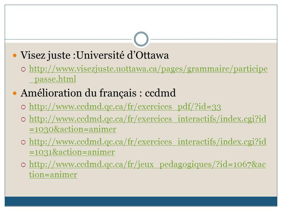 Visez juste :Université d'Ottawa  http://www.visezjuste.uottawa.ca/pages/grammaire/participe _passe.html http://www.visezjuste.uottawa.ca/pages/gramm