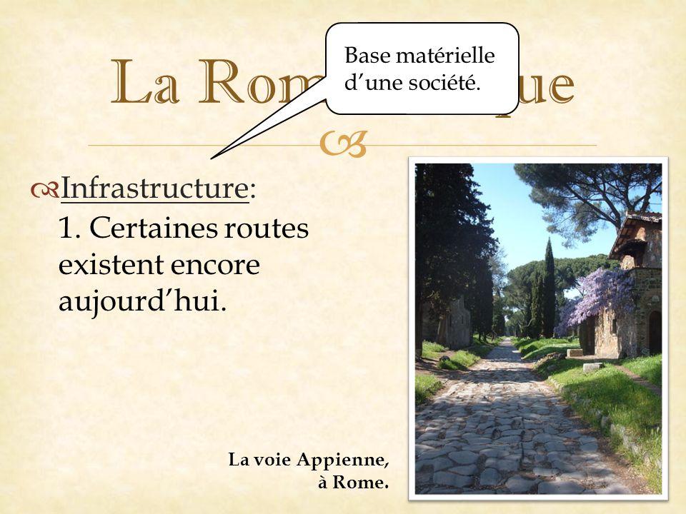   Infrastructure: La Rome antique 1.Certaines routes existent encore aujourd'hui.