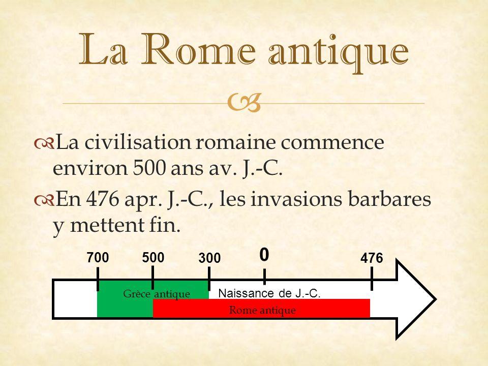   La civilisation romaine commence environ 500 ans av.