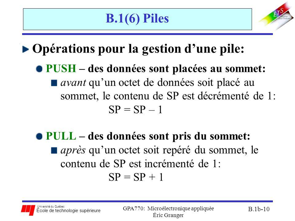Université du Québec École de technologie supérieure GPA770: Microélectronique appliquée Éric Granger B.1b-10 B.1(6) Piles Opérations pour la gestion d'une pile: PUSH – des données sont placées au sommet: avant qu'un octet de données soit placé au sommet, le contenu de SP est décrémenté de 1: SP = SP – 1 PULL – des données sont pris du sommet: après qu'un octet soit repéré du sommet, le contenu de SP est incrémenté de 1: SP = SP + 1