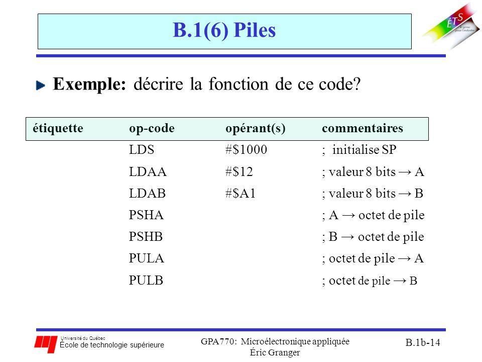 Université du Québec École de technologie supérieure GPA770: Microélectronique appliquée Éric Granger B.1b-14 B.1(6) Piles Exemple: décrire la fonction de ce code.