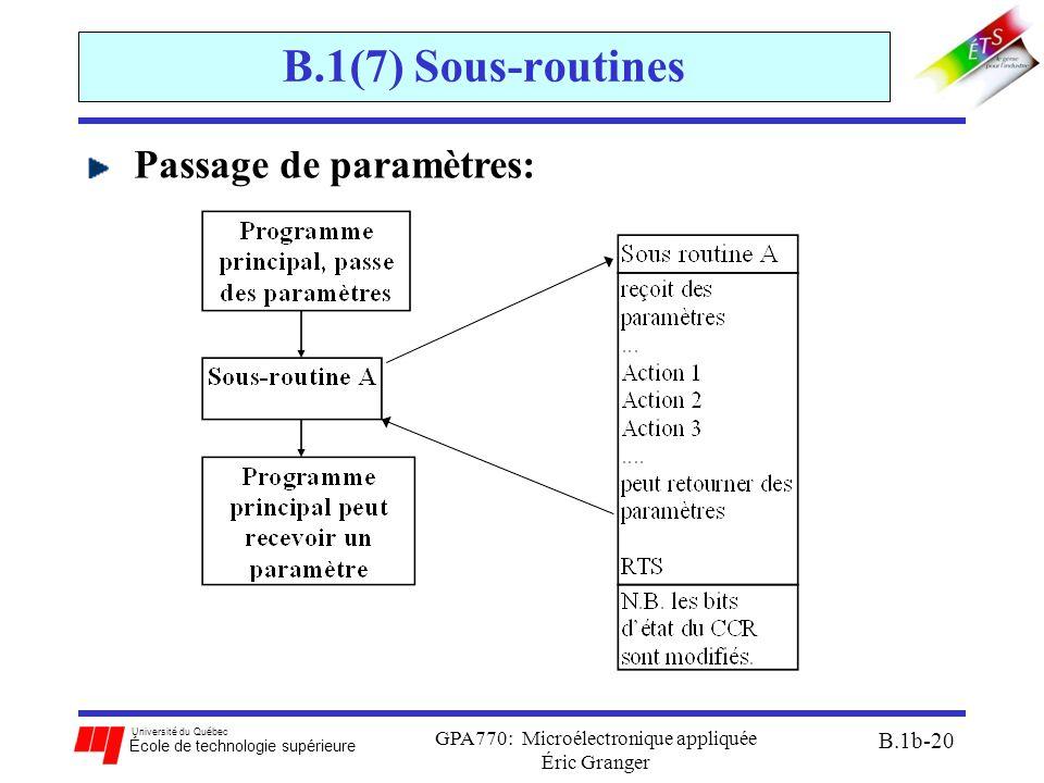 Université du Québec École de technologie supérieure GPA770: Microélectronique appliquée Éric Granger B.1b-20 B.1(7) Sous-routines Passage de paramètres: