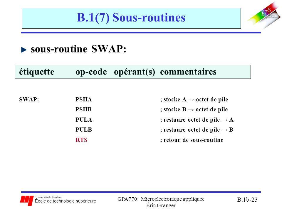 Université du Québec École de technologie supérieure GPA770: Microélectronique appliquée Éric Granger B.1b-23 B.1(7) Sous-routines sous-routine SWAP: étiquetteop-code opérant(s) commentaires SWAP:PSHA; stocke A → octet de pile PSHB; stocke B → octet de pile PULA; restaure octet de pile → A PULB; restaure octet de pile → B RTS; retour de sous-routine