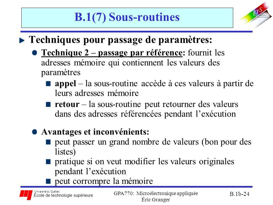 Université du Québec École de technologie supérieure GPA770: Microélectronique appliquée Éric Granger B.1b-24 B.1(7) Sous-routines Techniques pour pas