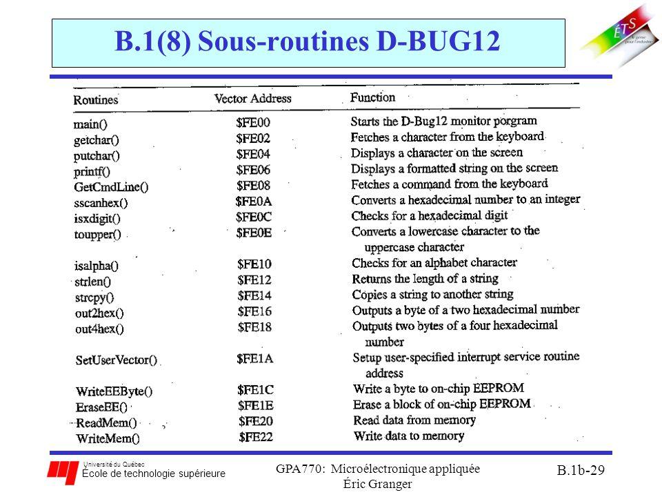 Université du Québec École de technologie supérieure GPA770: Microélectronique appliquée Éric Granger B.1b-29 B.1(8) Sous-routines D-BUG12