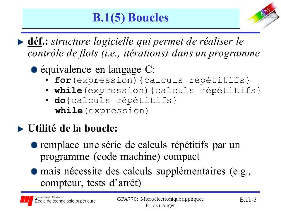Université du Québec École de technologie supérieure GPA770: Microélectronique appliquée Éric Granger B.1b-3 B.1(5) Boucles déf.: structure logicielle