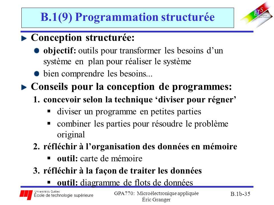 Université du Québec École de technologie supérieure GPA770: Microélectronique appliquée Éric Granger B.1b-35 B.1(9) Programmation structurée Concepti