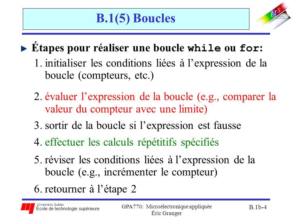 Université du Québec École de technologie supérieure GPA770: Microélectronique appliquée Éric Granger B.1b-4 B.1(5) Boucles Étapes pour réaliser une boucle while ou for : 1.initialiser les conditions liées à l'expression de la boucle (compteurs, etc.) 2.évaluer l'expression de la boucle (e.g., comparer la valeur du compteur avec une limite) 3.sortir de la boucle si l'expression est fausse 4.effectuer les calculs répétitifs spécifiés 5.réviser les conditions liées à l'expression de la boucle (e.g., incrémenter le compteur) 6.retourner à l'étape 2