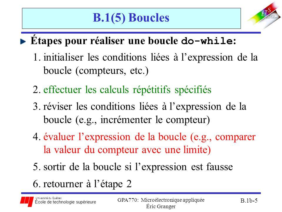 Université du Québec École de technologie supérieure GPA770: Microélectronique appliquée Éric Granger B.1b-5 B.1(5) Boucles Étapes pour réaliser une boucle do-while : 1.initialiser les conditions liées à l'expression de la boucle (compteurs, etc.) 2.effectuer les calculs répétitifs spécifiés 3.réviser les conditions liées à l'expression de la boucle (e.g., incrémenter le compteur) 4.évaluer l'expression de la boucle (e.g., comparer la valeur du compteur avec une limite) 5.sortir de la boucle si l'expression est fausse 6.retourner à l'étape 2