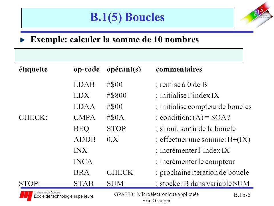 Université du Québec École de technologie supérieure GPA770: Microélectronique appliquée Éric Granger B.1b-6 B.1(5) Boucles Exemple: calculer la somme de 10 nombres étiquetteop-code opérant(s) commentaires LDAB #$00; remise à 0 de B LDX #$800; initialise l'index IX LDAA #$00; initialise compteur de boucles CHECK:CMPA #$0A; condition: (A) = $OA.