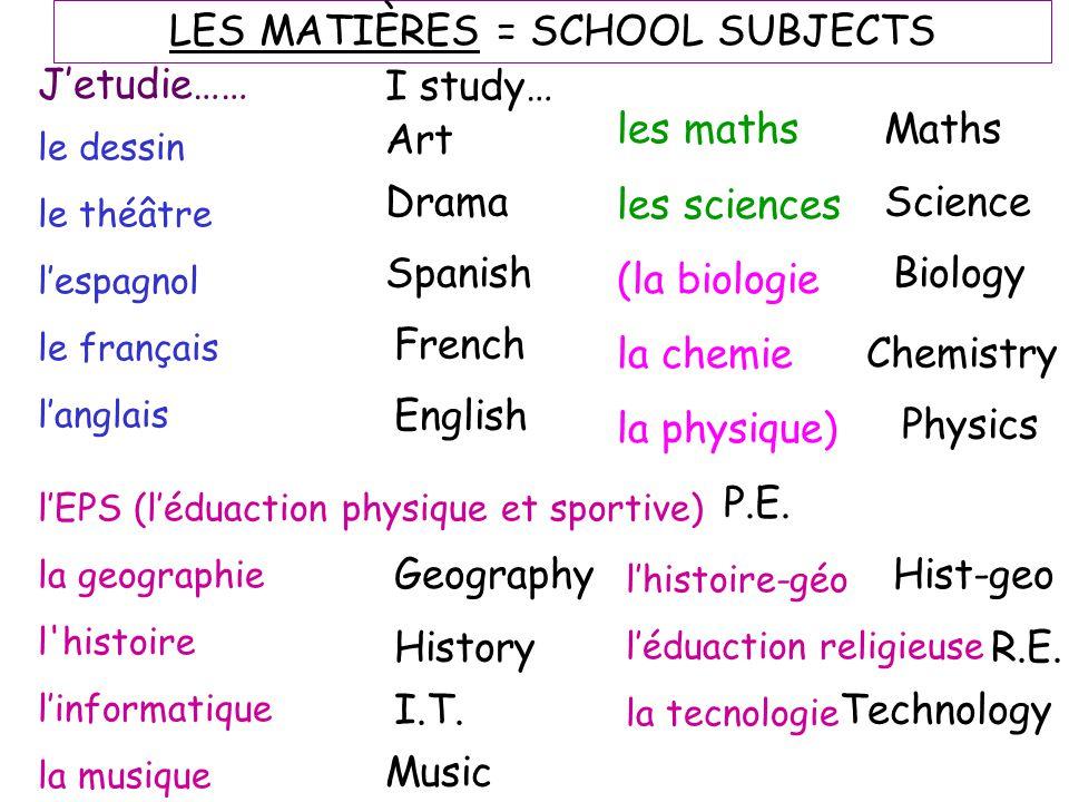 le dessin le théâtre l'espagnol le français l'anglais l'EPS (l'éduaction physique et sportive) la geographie l'histoire l'informatique la musique Art