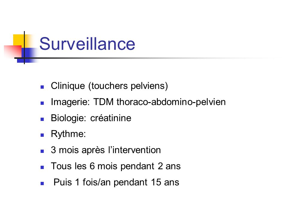 Surveillance Clinique (touchers pelviens) Imagerie: TDM thoraco-abdomino-pelvien Biologie: créatinine Rythme: 3 mois après l'intervention Tous les 6 m