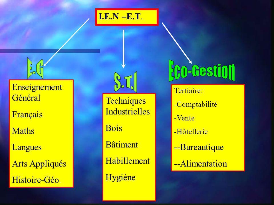 I.E.N –E.T. Enseignement Général Français Maths Langues Arts Appliqués Histoire-Géo. Techniques Industrielles Bois Bâtiment Habillement Hygiène Tertia