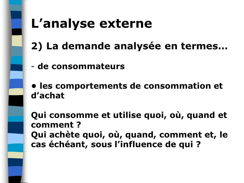 L'analyse externe 2) La demande analysée en termes… - de consommateurs les comportements de consommation et d'achat Qui consomme et utilise quoi, où, quand et comment .