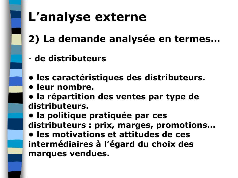 L'analyse externe 2) La demande analysée en termes… - de distributeurs les caractéristiques des distributeurs. leur nombre. la répartition des ventes
