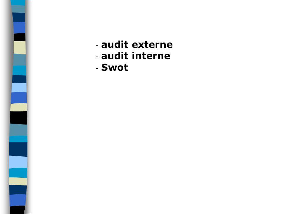 - audit externe - audit interne - Swot