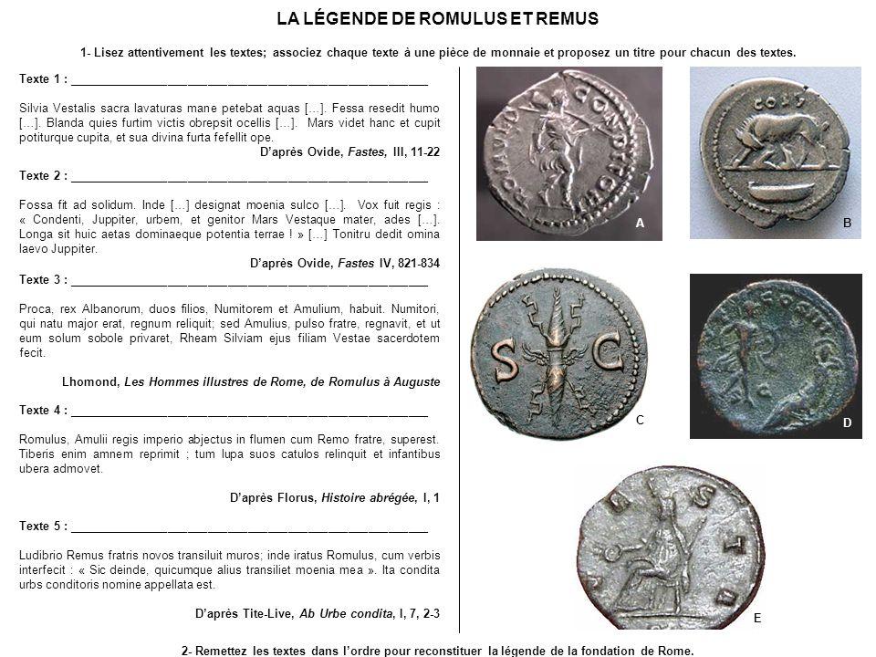 LA LÉGENDE DE ROMULUS ET REMUS Texte 1 : ______________________________________________________ Silvia Vestalis sacra lavaturas mane petebat aquas […]