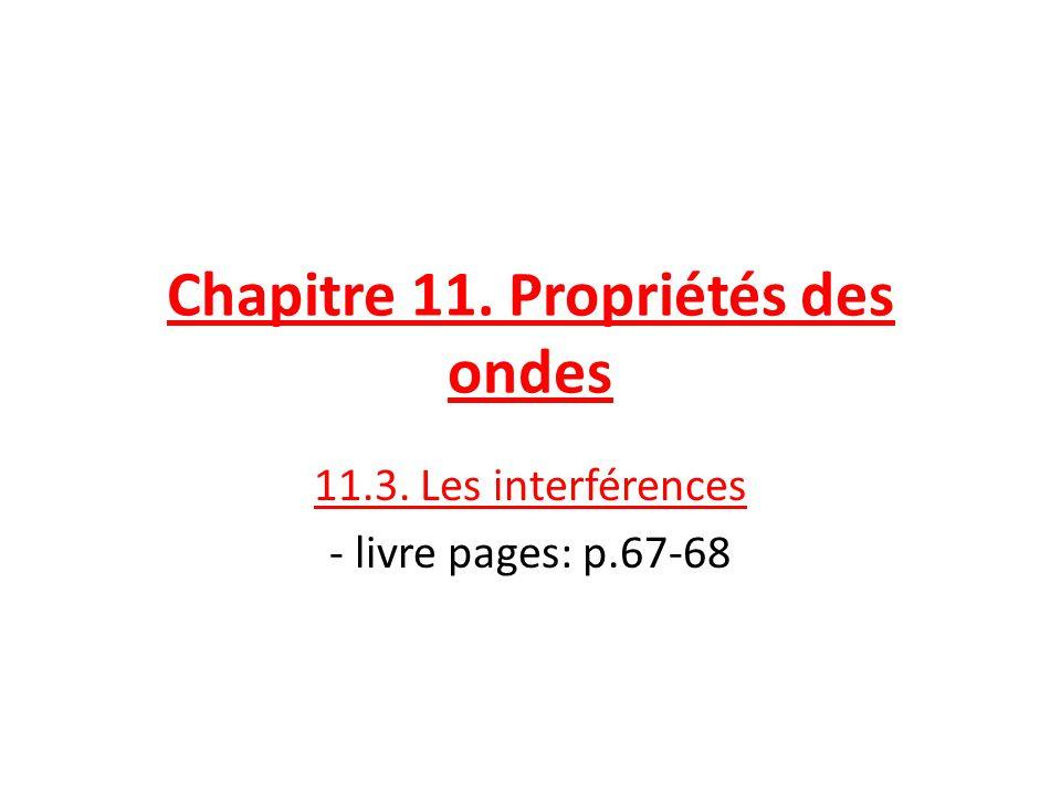 Chapitre 11. Propriétés des ondes 11.3. Les interférences - livre pages: p.67-68