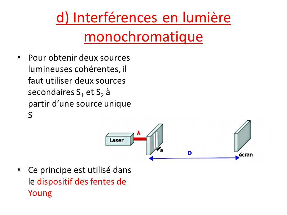 d) Interférences en lumière monochromatique Pour obtenir deux sources lumineuses cohérentes, il faut utiliser deux sources secondaires S 1 et S 2 à pa