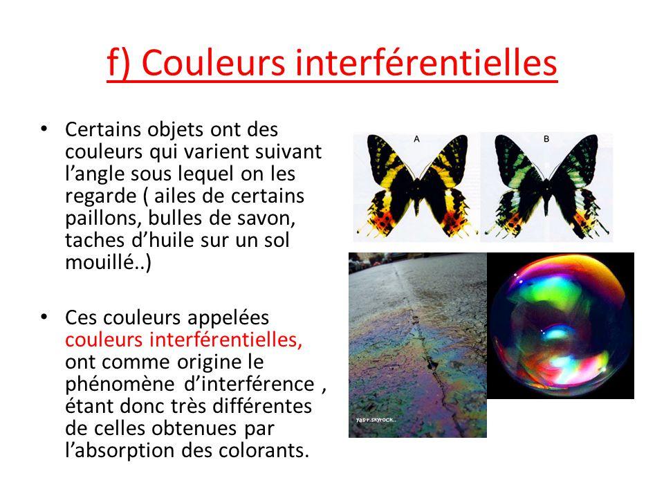 f) Couleurs interférentielles Certains objets ont des couleurs qui varient suivant l'angle sous lequel on les regarde ( ailes de certains paillons, bu