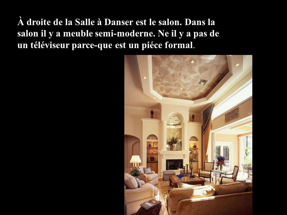 À droite de la Salle à Danser est le salon. Dans la salon il y a meuble semi-moderne. Ne il y a pas de un téléviseur parce-que est un piéce formal.
