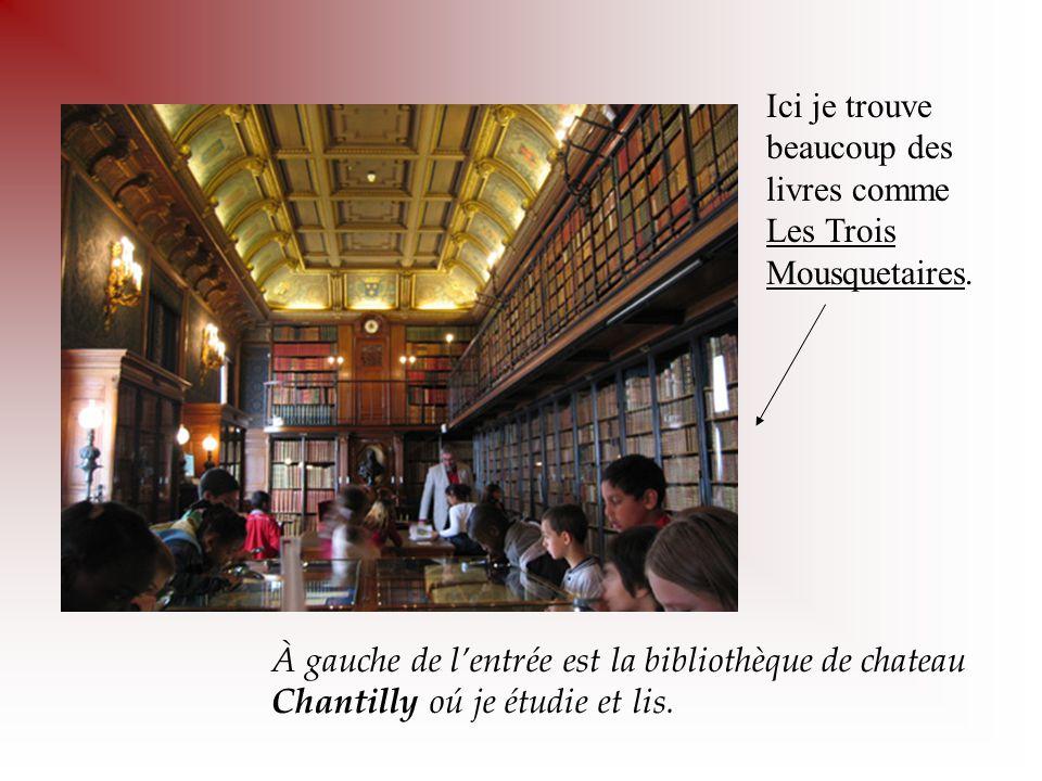 À gauche de l'entrée est la bibliothèque de chateau Chantilly oú je étudie et lis. Ici je trouve beaucoup des livres comme Les Trois Mousquetaires.
