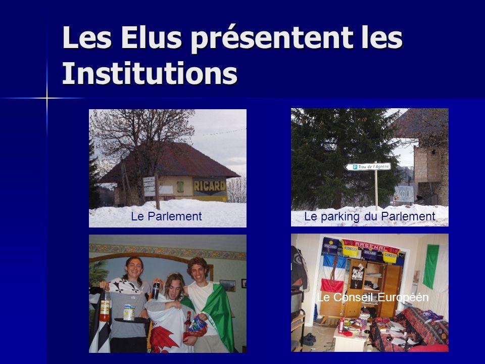 Les Elus présentent les Institutions Le Parlement Le parking du Parlement Le Conseil Européén