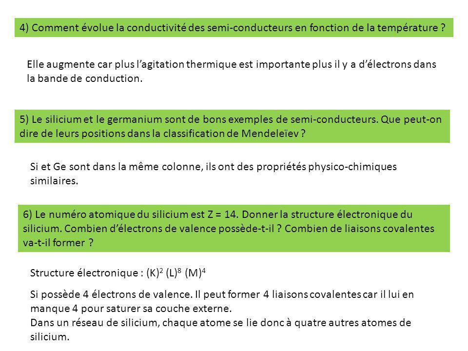 4) Comment évolue la conductivité des semi-conducteurs en fonction de la température ? Elle augmente car plus l'agitation thermique est importante plu