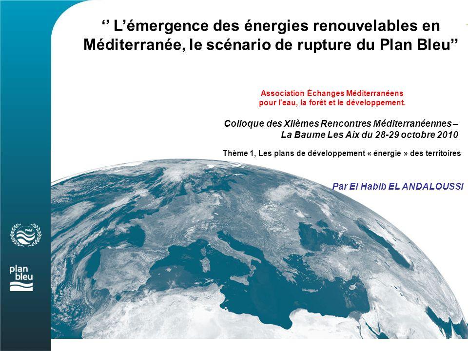 La région méditerranéenne, dont la consommation d'énergie primaire est estimée à 1000 Mtep en 2008, reste fortement dépendante des produits pétroliers qui représente environ 41 % de la consommation, suivi du gaz naturel qui en représente 27 %...