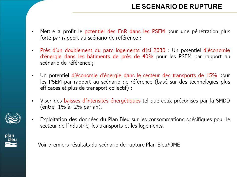 LE SCENARIO DE RUPTURE  Mettre à profit le potentiel des EnR dans les PSEM pour une pénétration plus forte par rapport au scénario de référence ;  P